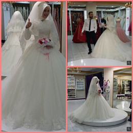 $enCountryForm.capitalKeyWord UK - 2019 Vintage Dubai Arabic Muslim Wedding Dress with hijab Long Sleeve muslim women vestidos de novia robe de mariage wedding Dress hot sale