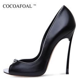 $enCountryForm.capitalKeyWord Australia - Cocoafoal Woman Peep Toe Pumps Plus Size 34 - 43 Party White Wedding Pumps Black Sexy Pole Dance 12 Cm Ultra High Heels Shoes