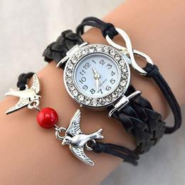 Blue Bird Bracelet online shopping - Women Bird Love Heart Multilayer Knitted Faux Leather Bracelet Wrist Watch