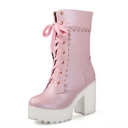 $enCountryForm.capitalKeyWord NZ - Pink White Lace Up High Heel Student Shoes Platform Chunky Block Mid Calf Short Boots Women Plus Size