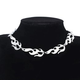 Steel flame jewelry online shopping - Harajuku Streetwear Flame Unisex Choker Necklace Punk Style Silver Pendant Necklace Rock Chain Jewelry Accessories