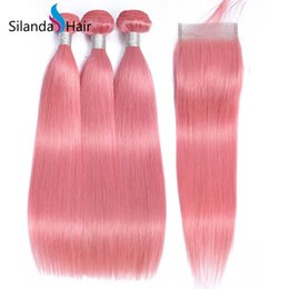 $enCountryForm.capitalKeyWord Australia - Silanda Hair Hot Selling Rose Pink Straight Brazilian Remy Human Hair Weaves 3 Weft Bundles With 4X4 Lace Closure Free Shipping