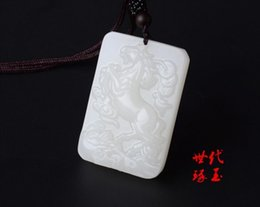 Jade Carved Face Pendant Australia - Koraba Fine Jewelry Natural White Hand-carved Chinese Hetian Jade Horses Pendant + Rope Necklace Free Shipping