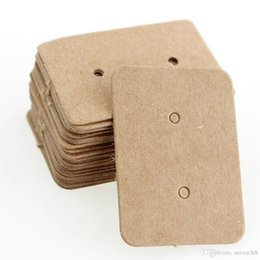 earring paper UK - 100 PCS Brown Kraft Paper Earring Card Ear Studs Display Tag Label Jewelry Display Card Kraft Rectangle Earring Tag Cards