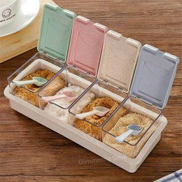 Discount condiments storage Glittering furniture retail storeKitchen Seasoning Box Set Spice Jars Condiment Sugar Salt Storage Container Case