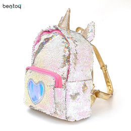 Cute Teenage Girl Backpacks NZ - 2019 Women Sequins Backpack Cute Unicorn Schoolbag For Teenage Student Girls Satchel Female Mochila De Couro Packpack School Bag J190427