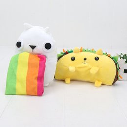 Discount hairy toys - Wholesale 9-18cm Hedgehog Rainbow Ralphing Cat Tacocat Hairy Potato & Cards kids sthffed toy gift