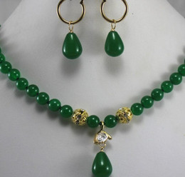 Earrings matching nEcklacEs online shopping - Necklace i gt gt gt prefect matched mm green jade necklace earrings jewelry sets for party and wedding Natural jewelry