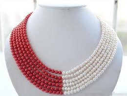 $enCountryForm.capitalKeyWord Australia - women good Fast SHIPPING 6strands 6mm white round freshwater pearl red coral bead necklace (A0501)