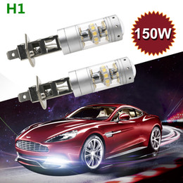 car daytime cree UK - 2Pcs Lot H1 H3 LED Fog Light Bulbs for Cars Cree Chips 3000LM 6500K Cool White 150W Automobile DRL Daytime Running Fog Lights