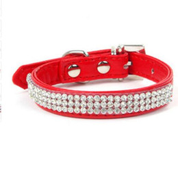 Leather Dog Collars UK - Free shipping Hot Bling Crystal Rhinestones PU Leather Pet Dog Collars Puppy Cat Choker Necklaces For Small Dog Collar Perro Pet