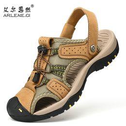 $enCountryForm.capitalKeyWord Australia - Men's Sandals Leather Casual Beach Shoes Outdoor Summer Slippers High Quality Lightweight Falt Trekking Sandals Plus Size 38-47