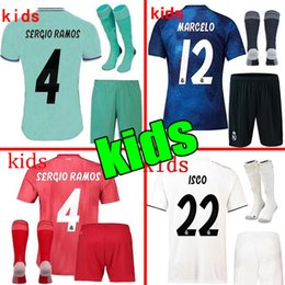 f11c012db 2019 Real Madrid Ea Sports Kids Kit Soccer Jerseys 2018 19 Home White Away  3RD 4TH Boy Child Youth Modric ISCO BALE KROOS Football Shirts