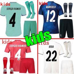 1f88ac41ae9 2019 Real Madrid Ea Sports Kids Kit Soccer Jerseys 2018 19 Home White Away  3RD 4TH Boy Child Youth Modric ISCO BALE KROOS Football Shirts