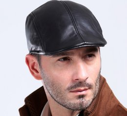 $enCountryForm.capitalKeyWord Australia - Real leather sheepskin hat Men fall and winter leisure Beret middle-aged and elderly fashionable cotton cap with duck tongue