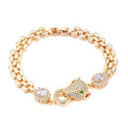 ladies head chain UK - Fashion Animal Head Crystal Lady Bracelet Personality Imitation Gold Pop Color Crystal Bracelet Holiday Gift 3-KS960