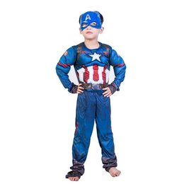 Wholesale Captain America Muscle Jumpsuits Mask Halloween Costume for Kids Child Party Cosplay Carnival Disfraz Muje