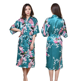 b32a677c19 K1686 Silk Satin Wedding Bride Bridesmaid Robe Floral Bathrobe Long Kimono  Night Robe Bath Robe Fashion Dressing Gown For Women