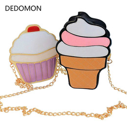 Cute Cupcakes Australia - New Cute Cartoon Women Ice Cream Cupcake Mini Bags PU Leather Small Chain Clutch Crossbody Girl Shoulder Messenger Evening Bag