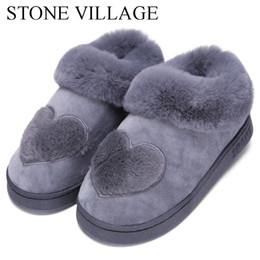 heart shaped plush NZ - New Arrival Heart-Shaped Cotton Women Slippers Warm Plush Winter Fur Slippers Soft Indoor Shoes Flat With Home Slippers Y200106