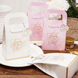 small gift boxes chocolates 2019 - AVEBIEN20pcs Romantic Korean Wedding Chocolate Candy Box 9.5x17.5x5.8cm Small Handbag Wedding Gift for Guest Souvenirs P