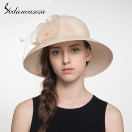 $enCountryForm.capitalKeyWord Australia - Sedancasesa Ladies' Elegant Wide Brim Summer Sun Hats for Women Handmade Big Flowers UV Protection Beach Female Sun Caps SunHat