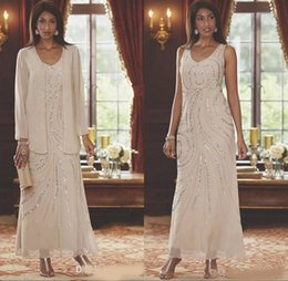 chiffon wedding dress ankle length Canada - V Neck Chiffon Mother's Dresses Two Pieces Beaded Wedding Guest Ankle Length Mother Of the Bride Dresses With Long Sleeves Jacket
