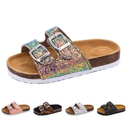$enCountryForm.capitalKeyWord Australia - 2019 New Kids Slippers Summer Beach Children Cork Sandals Bling Sequins For Family Shoes Leopard Barefoot Flats Girls Slipper Y19061906