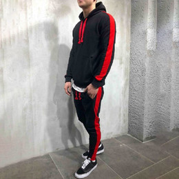 $enCountryForm.capitalKeyWord Australia - Christmas New Year Hip Hop Casual Hooded Color Swag Hoody Patchwork Top Pants Sets Suit Tracksuit Hoddies Rapper