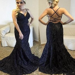 Wholesale Navy Blue Mermaid Prom Dress Formal Party Dress Special Occasion Dresses Spaghetti Criss Cross Straps Backless Evening Gowns