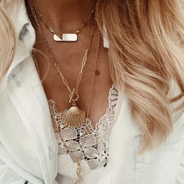 $enCountryForm.capitalKeyWord NZ - Bohemian simple one-button buckle scallop necklace female Europe and the new explosion models hot sale