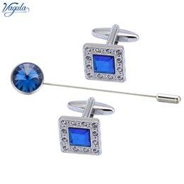 $enCountryForm.capitalKeyWord Australia - VAGULA Designer Cufflink Brooch pin 3 Pcs Set Brass Cuff links collar pin Men Jewelry 725