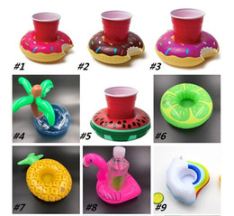 Toy Holders NZ - New Flamingo Inflatable Floating Drink Botlle Holder Lovely Pink Floating Bath Kids Toys Christmas Gift For Kids Can Floats