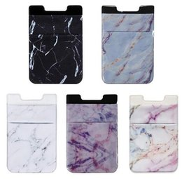 3m Iphone Australia - Lycra 3M Adhesive Decorative Sticker Pocket Card Credit ID Holder Marble style Back Phone Pouch Case For IPhone X 8 7 For Samsung S9