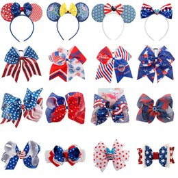 $enCountryForm.capitalKeyWord Australia - Hair Accessories Ameriacan Flag Hair Bows 4th of July Hair Clips For Girls Fashion JOJO Bows Baby Headband Sequin Hairbands Headwear