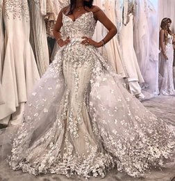 mermaid crystal dubai wedding dress 2019 - Luxury Beaded Mermaid Wedding Dresses With Detachable Train 2019 Modest 3D Floral Sweetheart Dubai Arabic Corset Princes