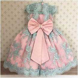 Images Applique Shirts Girl Australia - Princess Pearls Appliques Pink Blue Flower Girl Dress with Bow Sashes Knee Length O-neck Custom Made Ball Gowns for Little Baby Party Dress