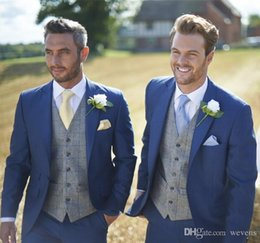 three piece suit white slim NZ - Hot Sale Blue Wedding Tuxedos Slim Fit Suits For Men Custom Jacket Vest And Pants Groom Suit Three Pieces Prom Formal Suits