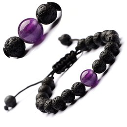 yoga incense Australia - Women Beaded Bracelet Incense 8mm volcanic stone drop bracelets natural 10mm red agate amethyst yoga seven chakras weave 7 pulse bracelet