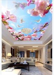 dive housing Canada - Custom 3D large silk ceiling mural photo wallpaper Beautiful flowering branch white dove blue sky white clouds ceiling zenith mural