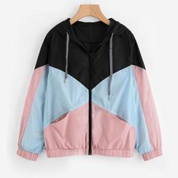 $enCountryForm.capitalKeyWord UK - Women Long Sleeve Coat Zipper Pockets Casual Sport Coat Patchwork Outerwear jackets windbreaker with hood coats female 1FM