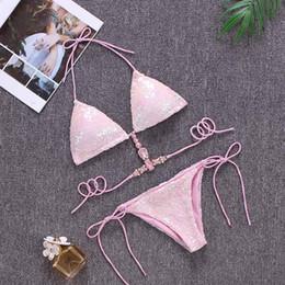 Wholesale brazillian bikinis online – 2020 New Sexy Bikinis Sequins Golden Women Bandage Bikini Set Push Up Padded Strappy Swimsuit Backless Brazillian Summer Swimwear