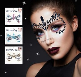 Gems stickers online shopping - Glitter girls colorful rhinestones sticker kids DIY catwoman resin gems jewels tattoo face makeup women cosplay party accessories F7293