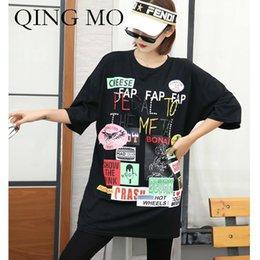$enCountryForm.capitalKeyWord NZ - QING MO 2019 Fashion Women Summer Black Pattern Patchwork T Shirt Women O Neck Short Sleve T Shirt Plus Size ZQY163
