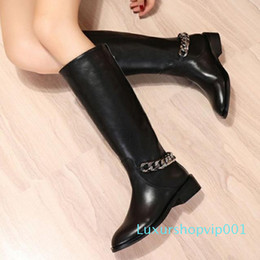 gold flat knee boots NZ - Classic Black Women Knee High Boots Gold Silver Chain Leather Ankle Boots Cowboy Martin Booties Large Size Casual Flats Sneakers Shoes