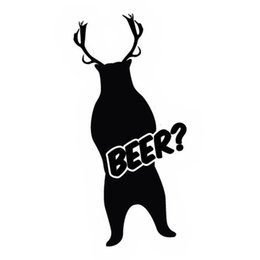 Cartoon Deer Head Australia - Beer Bear Deer Sticker Applique Hunting Car Fun Car Bumper Vinyl Packaging Personality Accessories