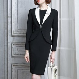 c8a9a540c74d27 2018 Autumn Winter Womens Dress Suit Set Vintage Elegant Office Formal  Business Wear For Ladies With Jacket Blazer Top Luxury
