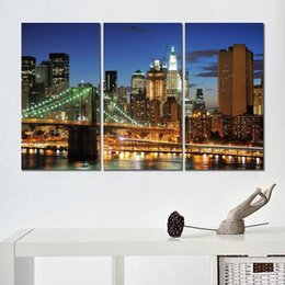 $enCountryForm.capitalKeyWord Australia - brooklyn bridge skyscrapers 3 sets HD canvas print for home decoration art painting