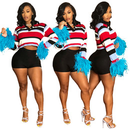 $enCountryForm.capitalKeyWord Canada - New Designer Blue Fur Striped Pattern Women Polo Shirt 2019 Spring Autumn Lapel Neck Long Sleeves Fashion Short T Shirts Top and Tees