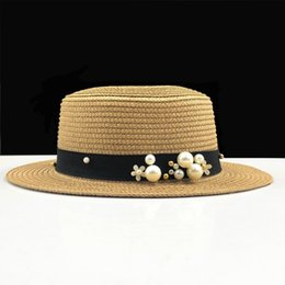 women bow hats Australia - Parent-child sun hat Cute children sun hats pearl bow hand made women straw cap beach big brim hat casual glris summer cap